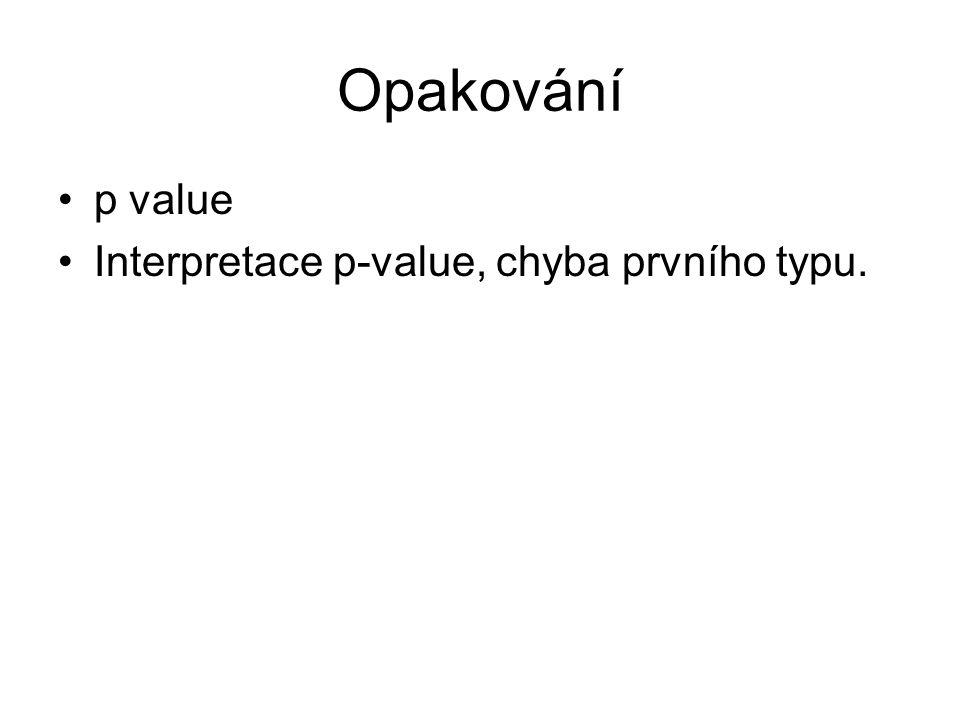 Opakování p value Interpretace p-value, chyba prvního typu.