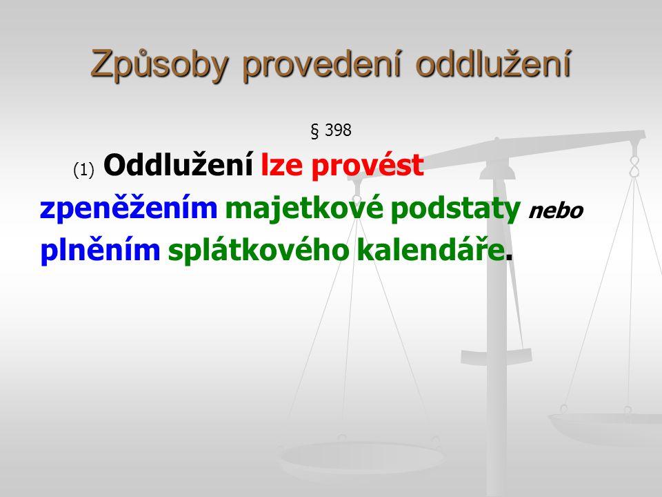 Oddlužení zpeněžením MP § 398 (2) Při oddlužení zpeněžením majetkové podstaty se postupuje obdobně podle ustanovení o zpeněžení majetkové podstaty v konkursu.