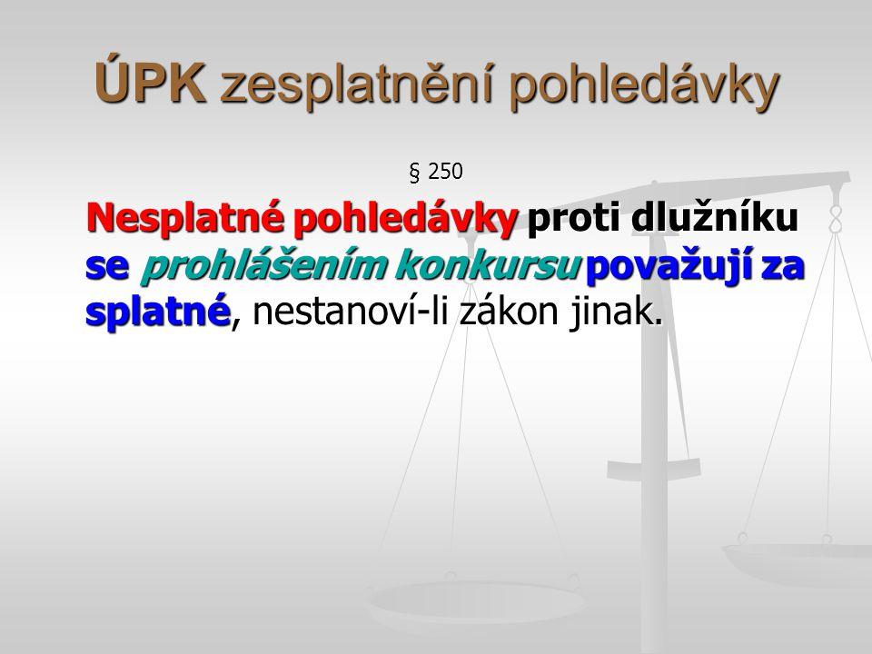 ÚPK podmíněné pohledávky § 251 Pohledávky věřitelů vázané na splnění rozvazovací podmínky se prohlášením konkursu považují v insolvenčním řízení za nepodmíněné, dokud rozvazovací podmínka není splněna.