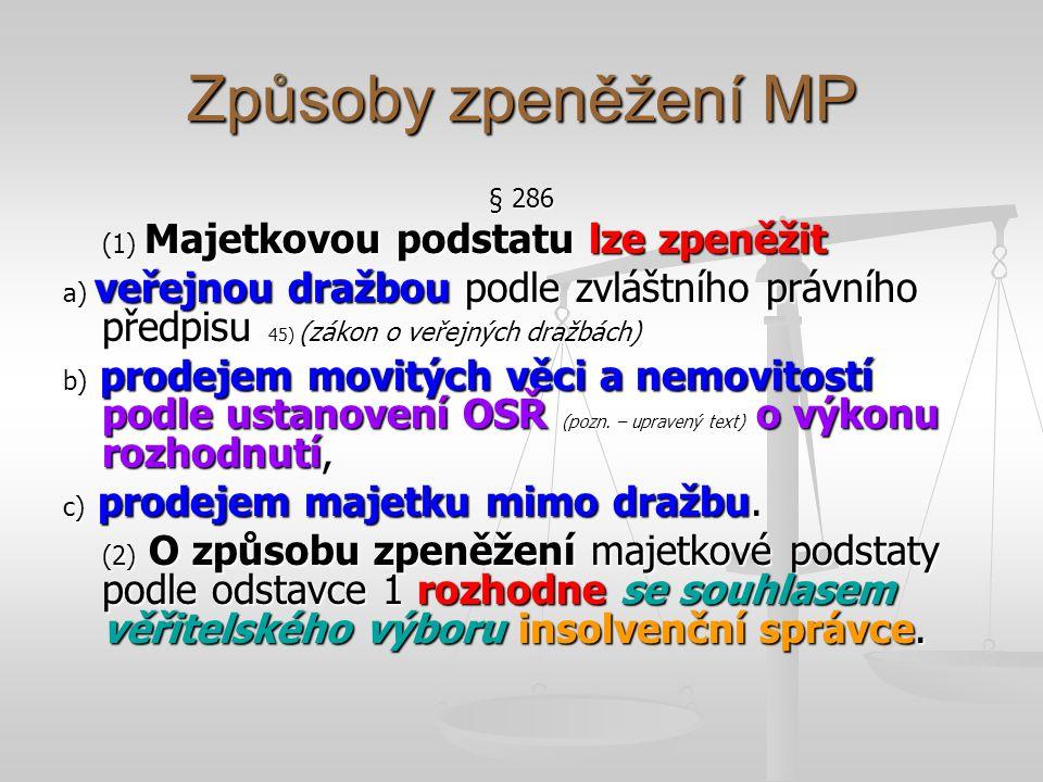 Zpeněžení veřejnou dražbou § 287 (1) Zpeněžení veřejnou dražbou se provede podle ustanovení zvláštního právního předpisu 38).