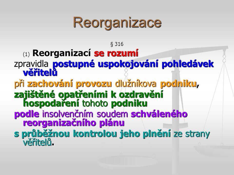 Přípustnost reorganizace § 316 (2) Reorganizací lze řešit úpadek nebo hrozící úpadek dlužníka, který je podnikatelem; reorganizace se týká jeho podniku.