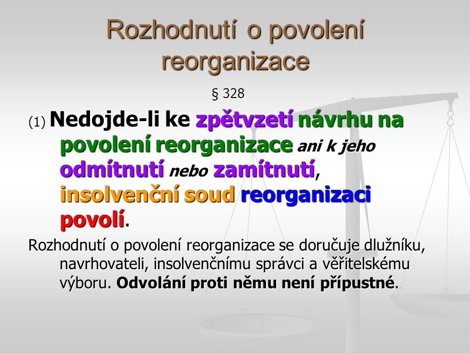 Dispoziční oprávnění, souhlas VěřVýb se zásadními úkony § 330 (1) Není-li dále stanoveno jinak, je dlužník v průběhu reorganizace dlužníkem s dispozičními oprávněními.