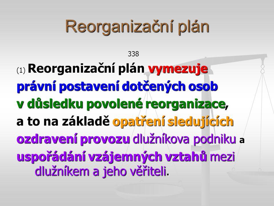 Reorganizační plán § 338 (3) V reorganizačním plánu se lze odchýlit od ustanovení tohoto zákona, pokud jde o uspokojení věřitelů včetně zajištěných věřitelů a věřitelů, jimiž jsou společníci a členové dlužníka uplatňující pohledávku vyplývající z jejich účasti ve společnosti nebo v družstvu, o nakládání s majetkovou podstatou a o závazky dlužníka po skončení insolvenčního řízení.
