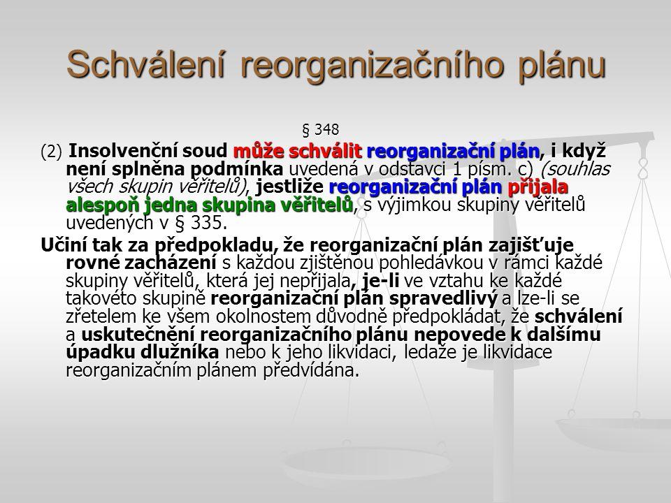 Zamítnutí reorganizačního plánu § 351 (1) Nejsou-li splněny všechny podmínky pro schválení reorganizačního plánu, insolvenční soud jej zamítne.
