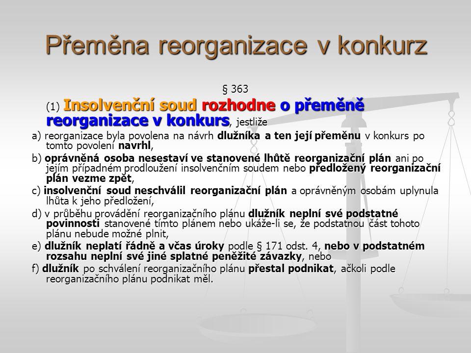 Přeměna reorganizace v konkurz § 363 (4) O přeměně reorganizace v konkurs nemůže insolvenční soud rozhodnout, jestliže reorganizační plán byl v podstatných bodech splněn.