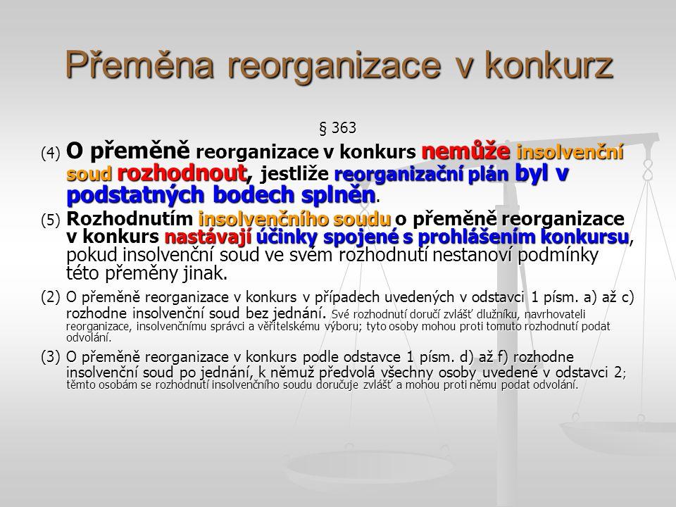 Splnění reorganizačního plánu § 364 (2) Splnění reorganizačního plánu nebo jeho podstatných částí vezme insolvenční soud na vědomí rozhodnutím, kterým reorganizace končí; proti tomuto rozhodnutí není odvolání přípustné.