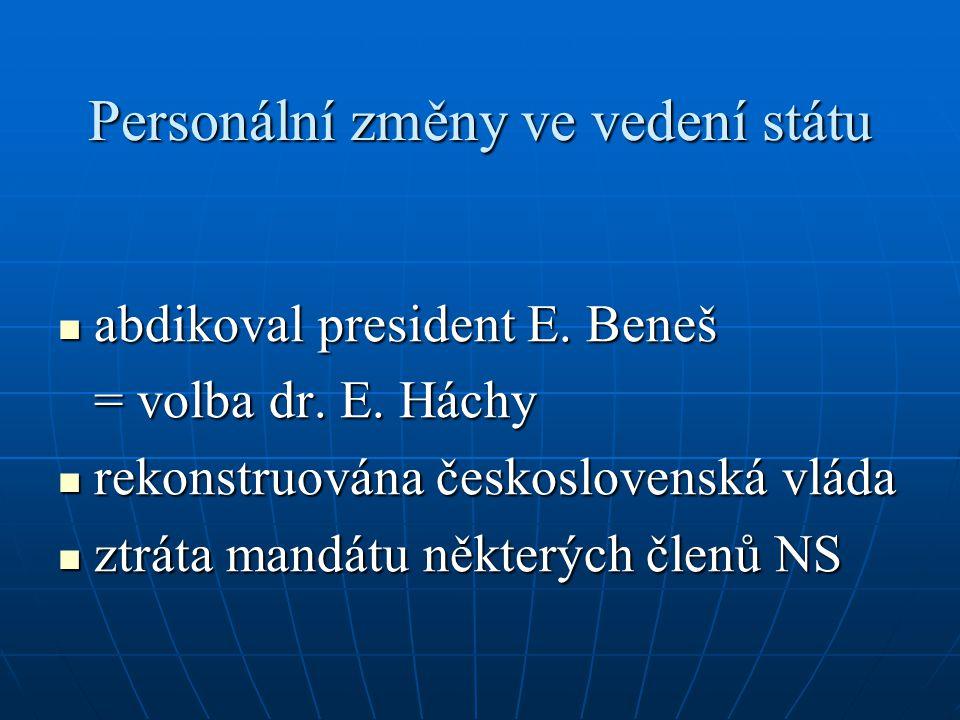 Personální změny ve vedení státu abdikoval president E. Beneš abdikoval president E. Beneš = volba dr. E. Háchy rekonstruována československá vláda re