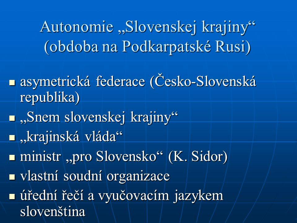 """Autonomie """"Slovenskej krajiny"""" (obdoba na Podkarpatské Rusi) asymetrická federace (Česko-Slovenská republika) asymetrická federace (Česko-Slovenská re"""