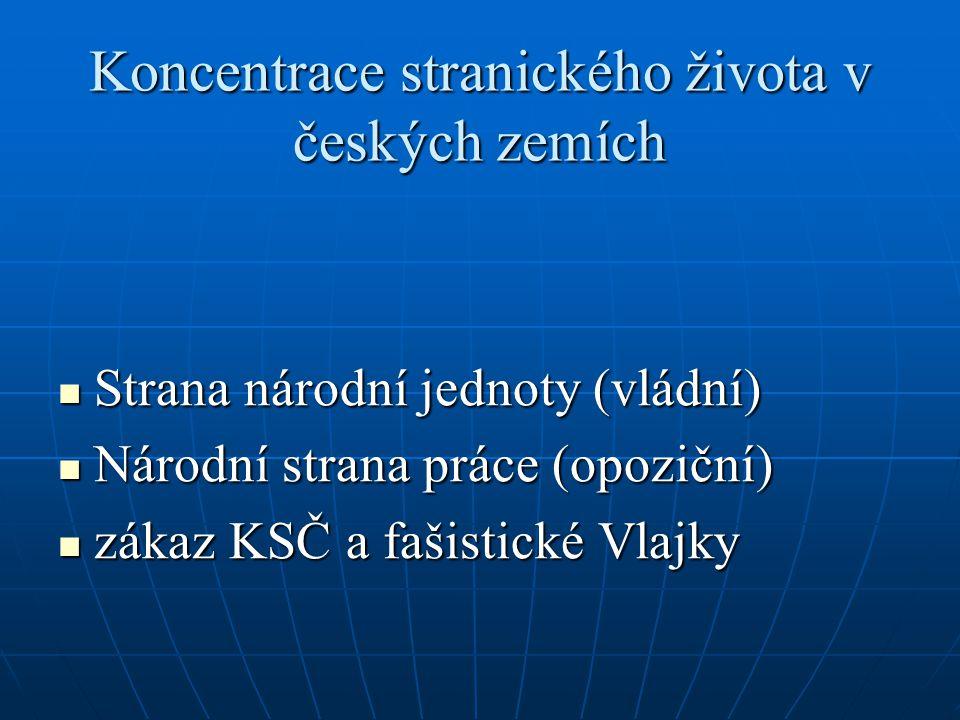 Koncentrace stranického života v českých zemích Strana národní jednoty (vládní) Strana národní jednoty (vládní) Národní strana práce (opoziční) Národn