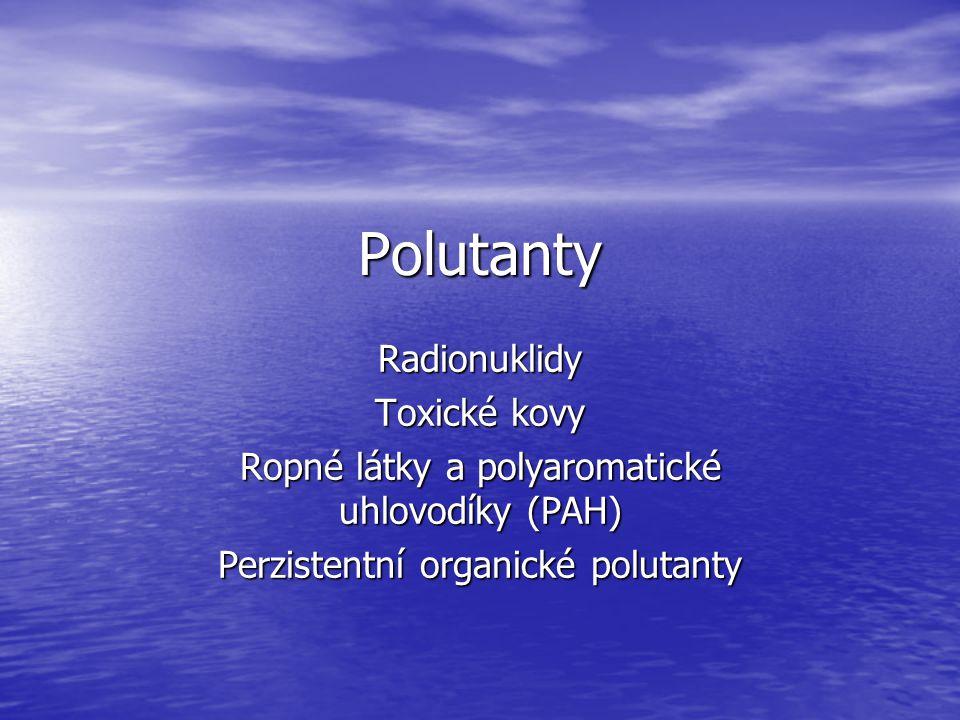 Polutanty Radionuklidy Toxické kovy Ropné látky a polyaromatické uhlovodíky (PAH) Perzistentní organické polutanty