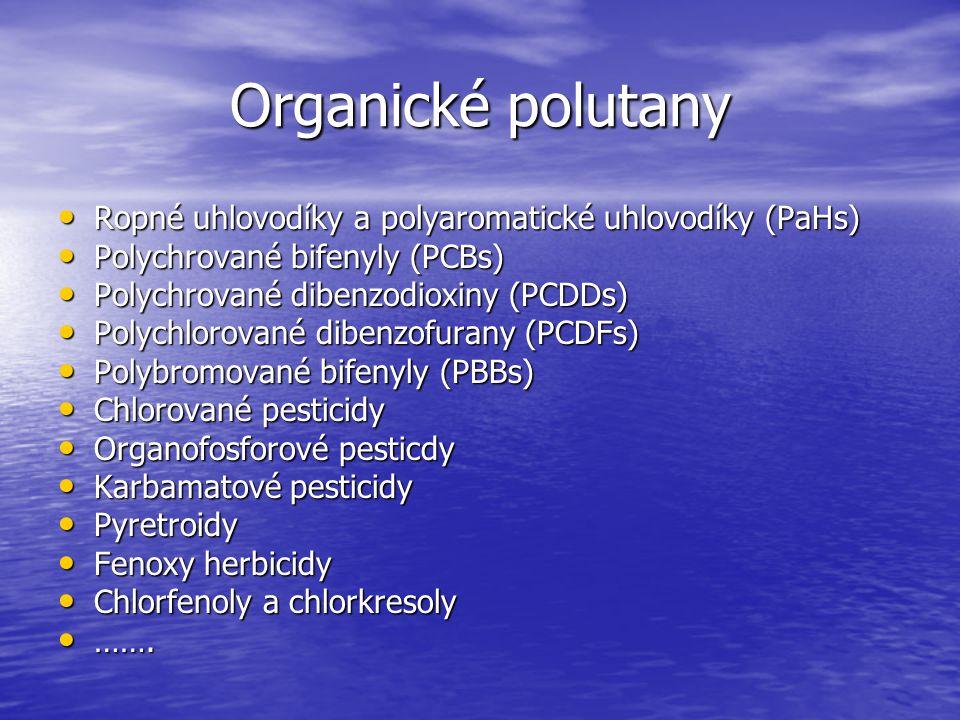 Organické polutany Ropné uhlovodíky a polyaromatické uhlovodíky (PaHs) Ropné uhlovodíky a polyaromatické uhlovodíky (PaHs) Polychrované bifenyly (PCBs