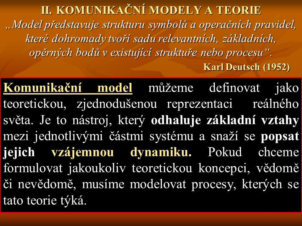 """Čtyři funkce komunikačního modelu (Deutsch, 1952) 1/ organizační - pro konstrukci každého modelu je třeba nejdříve vybrat data a popsat je, 1/ organizační - pro konstrukci každého modelu je třeba nejdříve vybrat data a popsat je, 2/ heuristickou - model by měl mít schopnost popsat vzájemné vztahy prvků daného systému, a to tak, jak ještě nebyly nikdy pochopeny, 2/ heuristickou - model by měl mít schopnost popsat vzájemné vztahy prvků daného systému, a to tak, jak ještě nebyly nikdy pochopeny, 3/ prediktivní - ve většině případů, by se měl model pokoušet odhalit a vysvětlit nové vztahy či nový fenomén a predikovat jeho chování, 3/ prediktivní - ve většině případů, by se měl model pokoušet odhalit a vysvětlit nové vztahy či nový fenomén a predikovat jeho chování, 4/ měření - každý model by měl poskytovat možnost """"měřitelnosti popisovaného chování (např."""