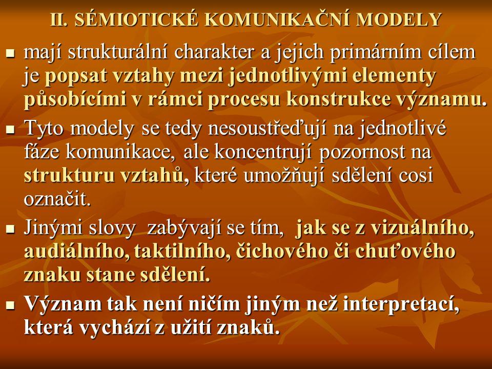 Většina modelů popisujících konstrukci významu sdílí podobnou formu, respektive zahrnuje tří základní elementy: 1/ znak 2/ objekt (referent), který znak zastupuje 3/ uživatele znaku