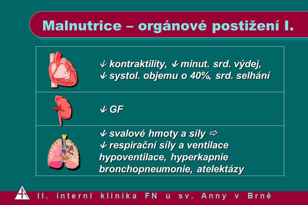 Malnutrice – orgánové postižení I. I I. i n t e r n í k l i n i k a F N u s v. A n n y v B r n ě  kontraktility,  minut. srd. výdej,  systol. objem