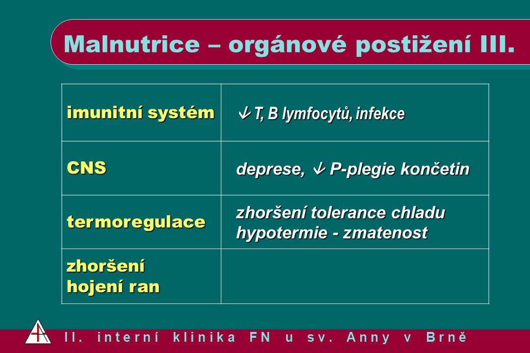 Malnutrice – orgánové postižení III. I I. i n t e r n í k l i n i k a F N u s v. A n n y v B r n ě imunitní systém  T, B lymfocytů, infekce CNS depre
