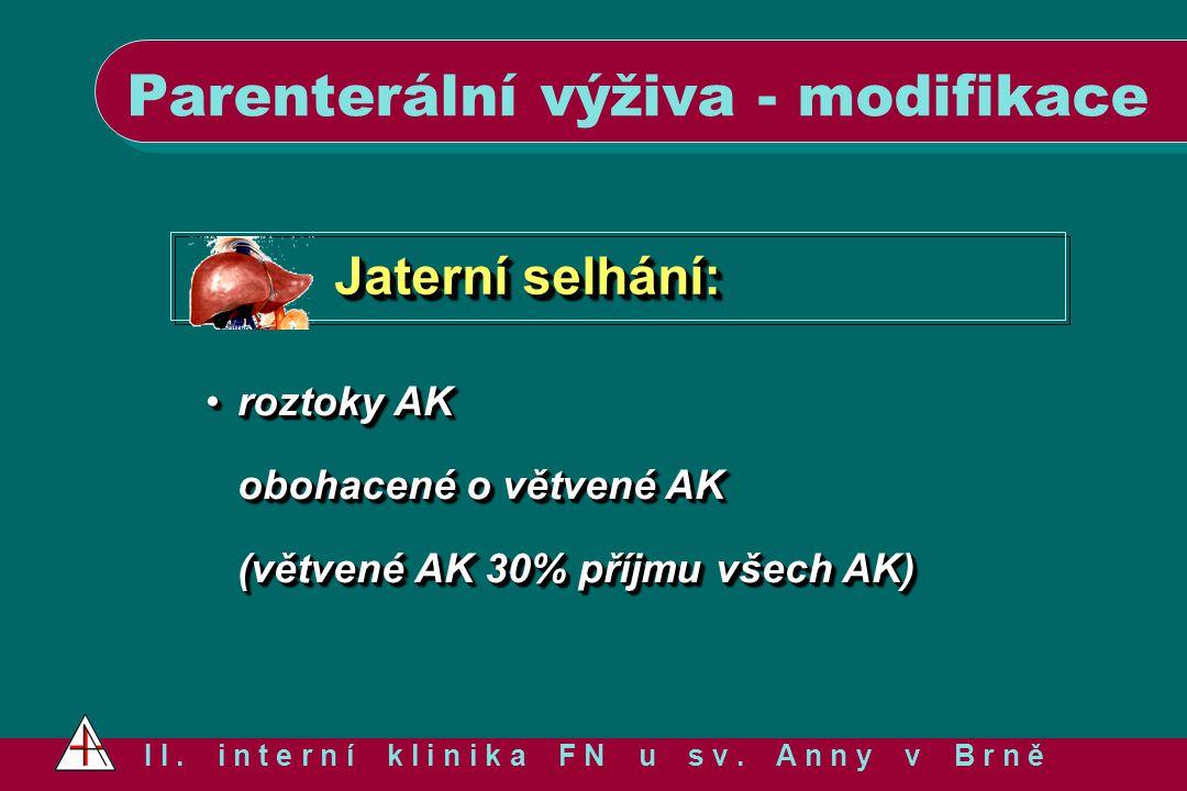 Jaterní selhání: roztoky AK obohacené o větvené AK (větvené AK 30% příjmu všech AK)roztoky AK obohacené o větvené AK (větvené AK 30% příjmu všech AK)