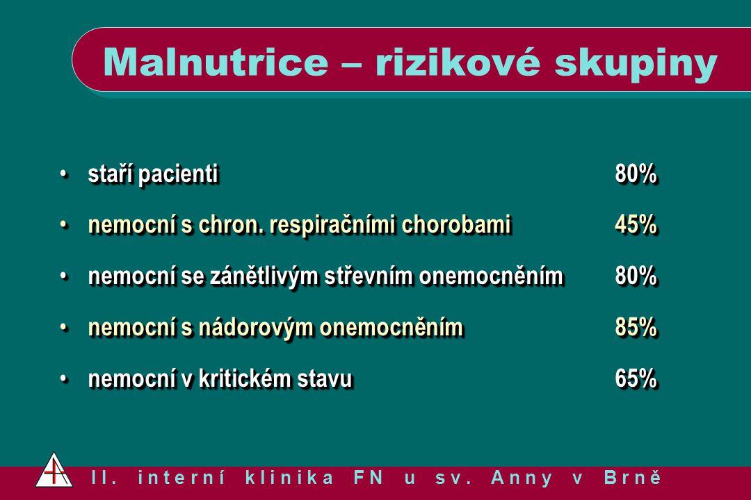 Malnutrice – rizikové skupiny I I. i n t e r n í k l i n i k a F N u s v. A n n y v B r n ě staří pacienti 80% staří pacienti 80% nemocní s chron. res