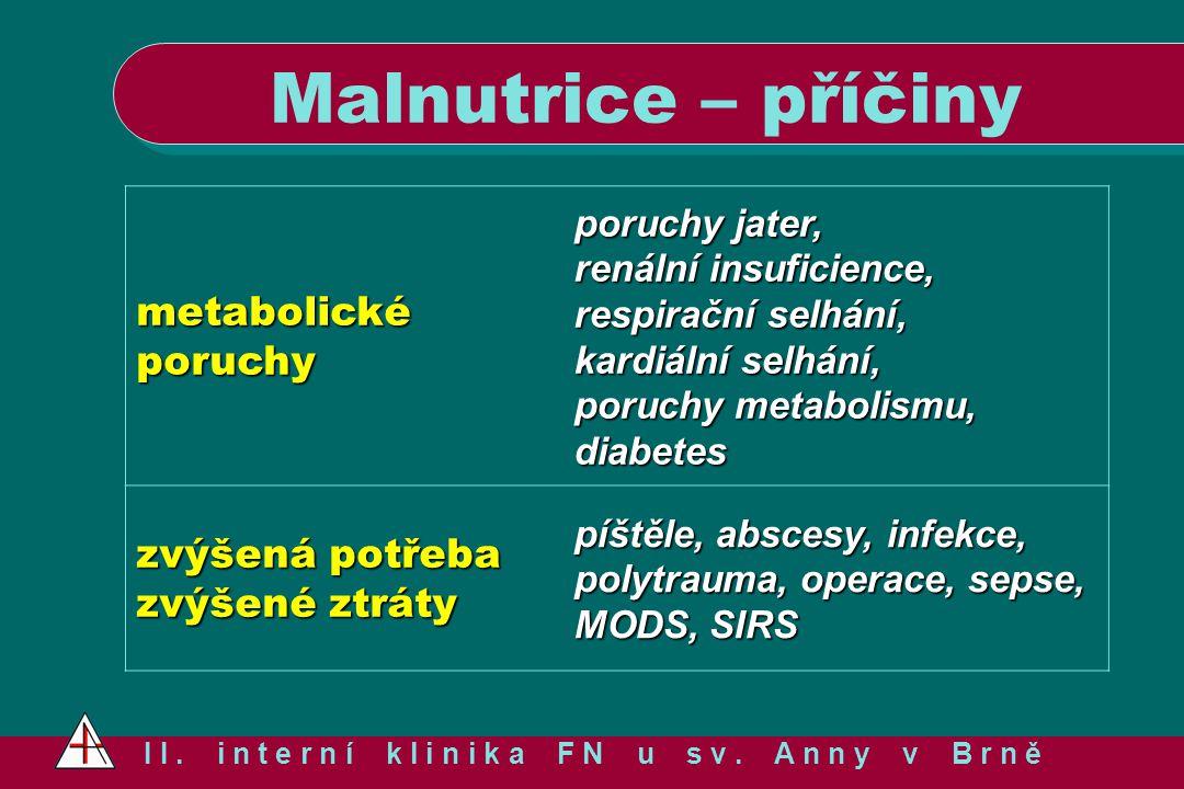 Malnutrice – příčiny I I. i n t e r n í k l i n i k a F N u s v. A n n y v B r n ě metabolické poruchy poruchy jater, renální insuficience, respirační