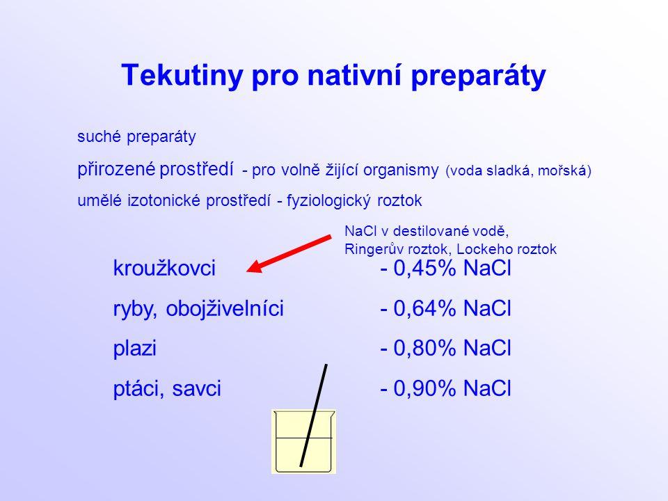 Tekutiny pro nativní preparáty suché preparáty přirozené prostředí - pro volně žijící organismy (voda sladká, mořská) umělé izotonické prostředí - fyz