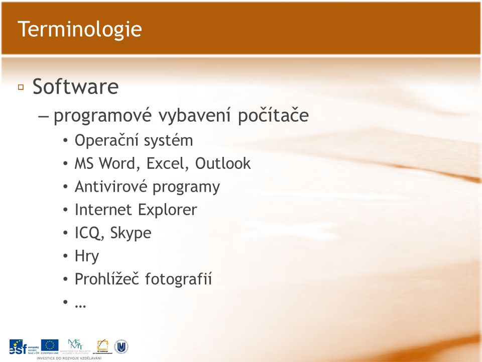 ▫ Software – programové vybavení počítače Operační systém MS Word, Excel, Outlook Antivirové programy Internet Explorer ICQ, Skype Hry Prohlížeč fotog