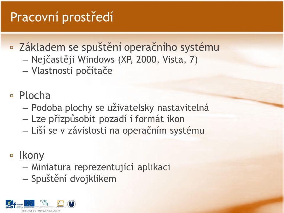 ▫ Základem se spuštění operačního systému – Nejčastěji Windows (XP, 2000, Vista, 7) – Vlastnosti počítače ▫ Plocha – Podoba plochy se uživatelsky nast