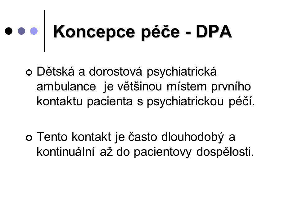 Koncepce péče - DPA Dětská a dorostová psychiatrická ambulance je většinou místem prvního kontaktu pacienta s psychiatrickou péčí. Tento kontakt je ča