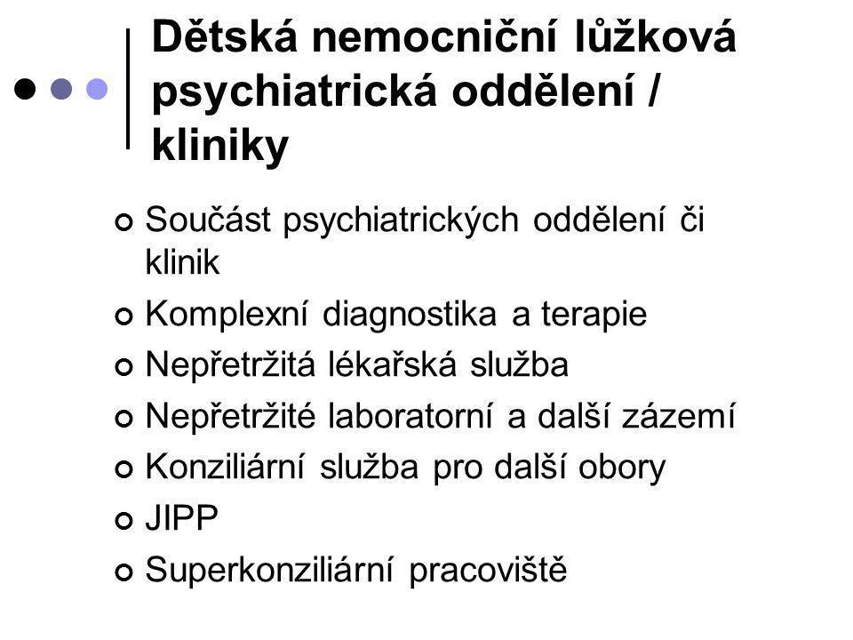 Dětská nemocniční lůžková psychiatrická oddělení / kliniky Součást psychiatrických oddělení či klinik Komplexní diagnostika a terapie Nepřetržitá léka