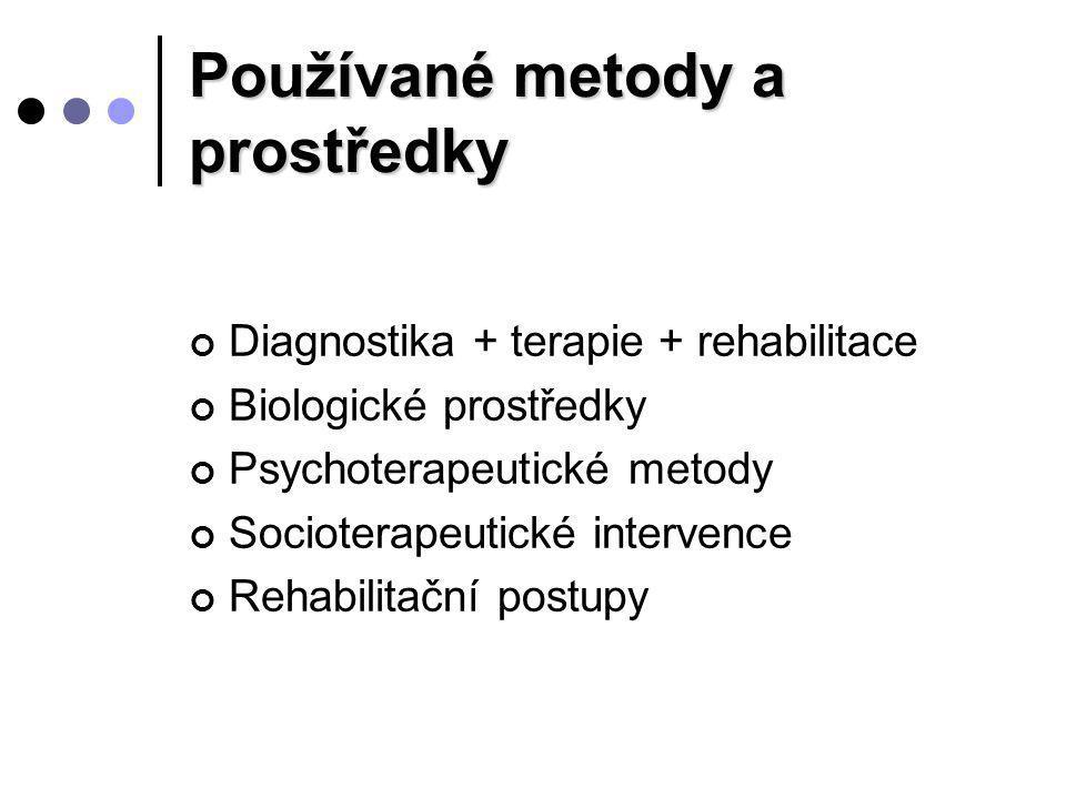 Používané metody a prostředky Diagnostika + terapie + rehabilitace Biologické prostředky Psychoterapeutické metody Socioterapeutické intervence Rehabi