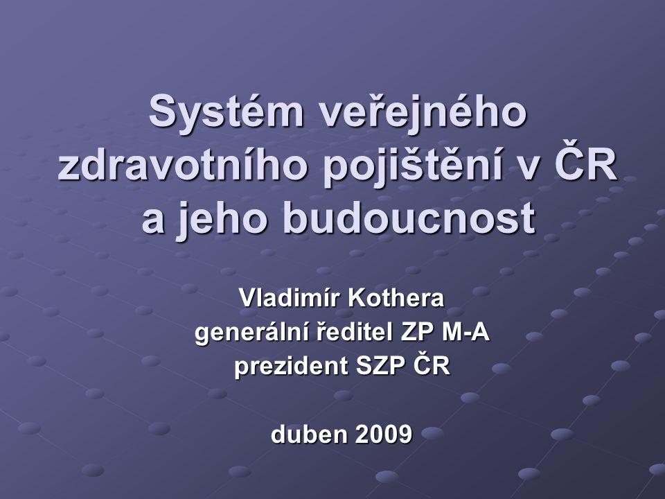 Systém veřejného zdravotního pojištění v ČR a jeho budoucnost Vladimír Kothera generální ředitel ZP M-A prezident SZP ČR duben 2009