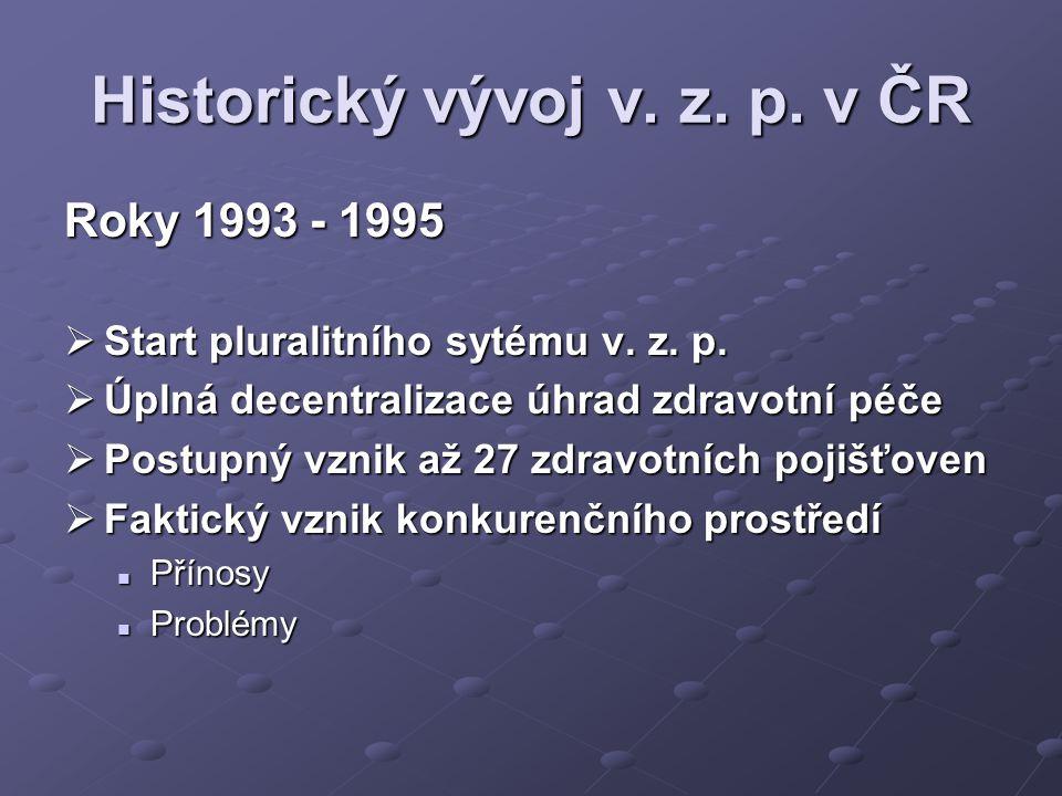 Historický vývoj v. z. p. v ČR Roky 1993 - 1995  Start pluralitního sytému v. z. p.  Úplná decentralizace úhrad zdravotní péče  Postupný vznik až 2