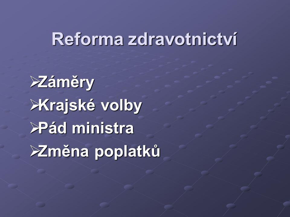 Reforma zdravotnictví  Záměry  Krajské volby  Pád ministra  Změna poplatků