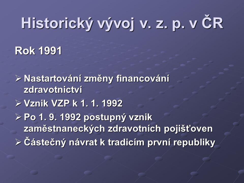 Historický vývoj v. z. p. v ČR Rok 1991  Nastartování změny financování zdravotnictví  Vznik VZP k 1. 1. 1992  Po 1. 9. 1992 postupný vznik zaměstn