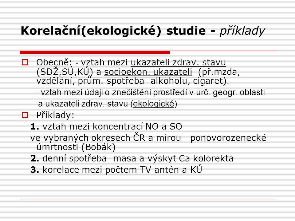 Korelační(ekologické) studie - příklady  Obecně: - vztah mezi ukazateli zdrav.