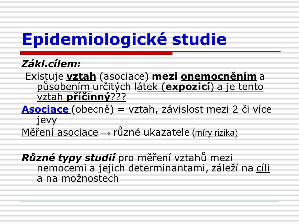 Epidemiologické studie Zákl.cílem: Existuje vztah (asociace) mezi onemocněním a působením určitých látek (expozicí) a je tento vztah příčinný??.