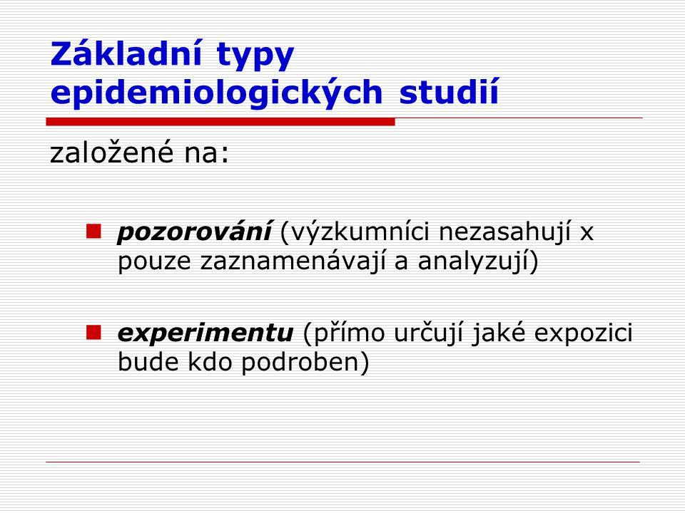 Základní typy epidemiologických studií založené na: pozorování (výzkumníci nezasahují x pouze zaznamenávají a analyzují) experimentu (přímo určují jaké expozici bude kdo podroben)