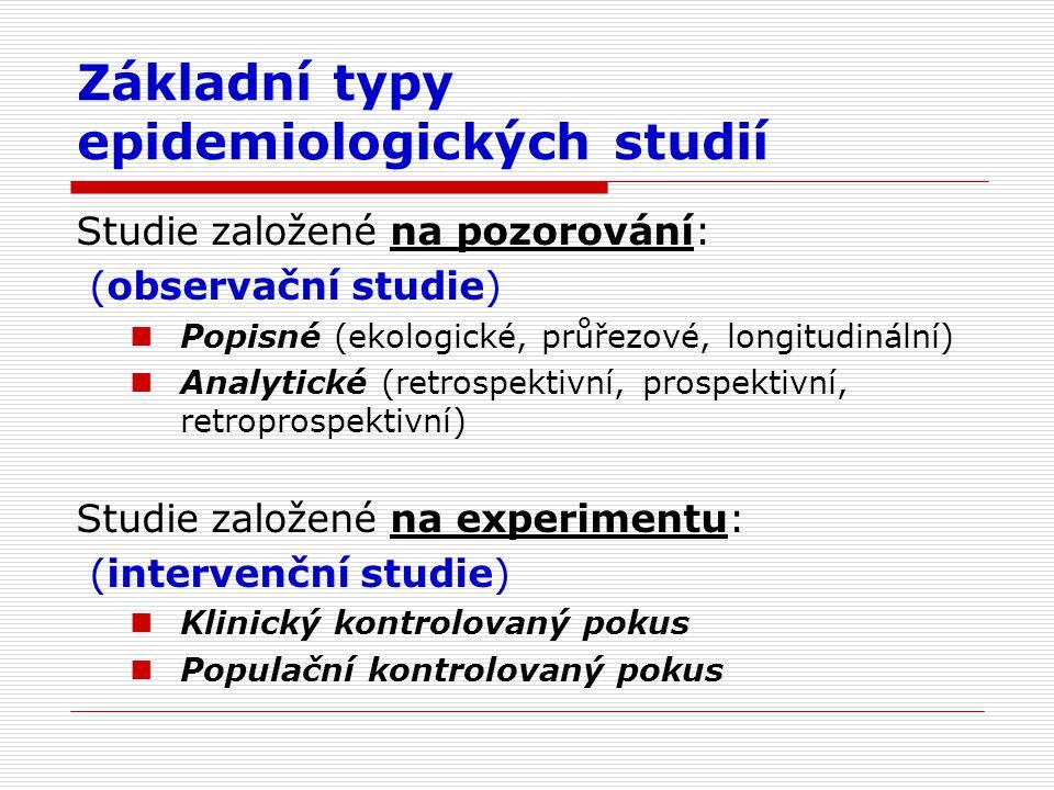 Základní typy epidemiologických studií Studie založené na pozorování: (observační studie) Popisné (ekologické, průřezové, longitudinální) Analytické (retrospektivní, prospektivní, retroprospektivní) Studie založené na experimentu: (intervenční studie) Klinický kontrolovaný pokus Populační kontrolovaný pokus
