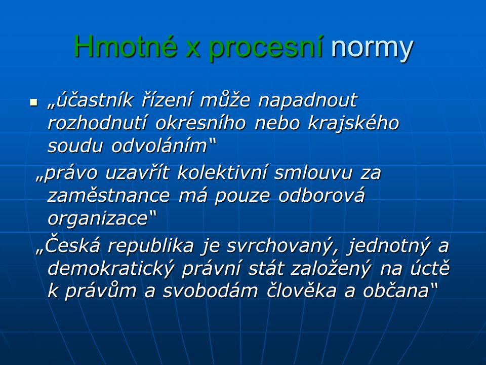 """Hmotné x procesní normy """"účastník řízení může napadnout rozhodnutí okresního nebo krajského soudu odvoláním """"účastník řízení může napadnout rozhodnutí okresního nebo krajského soudu odvoláním """"právo uzavřít kolektivní smlouvu za zaměstnance má pouze odborová organizace """"právo uzavřít kolektivní smlouvu za zaměstnance má pouze odborová organizace """"Česká republika je svrchovaný, jednotný a demokratický právní stát založený na úctě k právům a svobodám člověka a občana """"Česká republika je svrchovaný, jednotný a demokratický právní stát založený na úctě k právům a svobodám člověka a občana"""