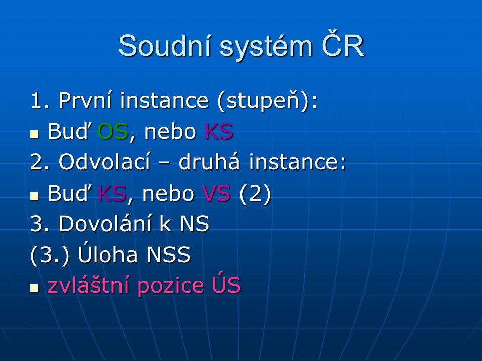 Soudní systém ČR 1.První instance (stupeň): Buď OS, nebo KS Buď OS, nebo KS 2.