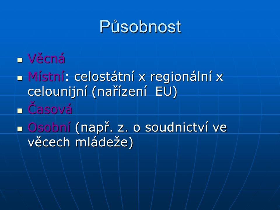 Působnost Věcná Věcná Místní: celostátní x regionální x celounijní (nařízení EU) Místní: celostátní x regionální x celounijní (nařízení EU) Časová Časová Osobní (např.