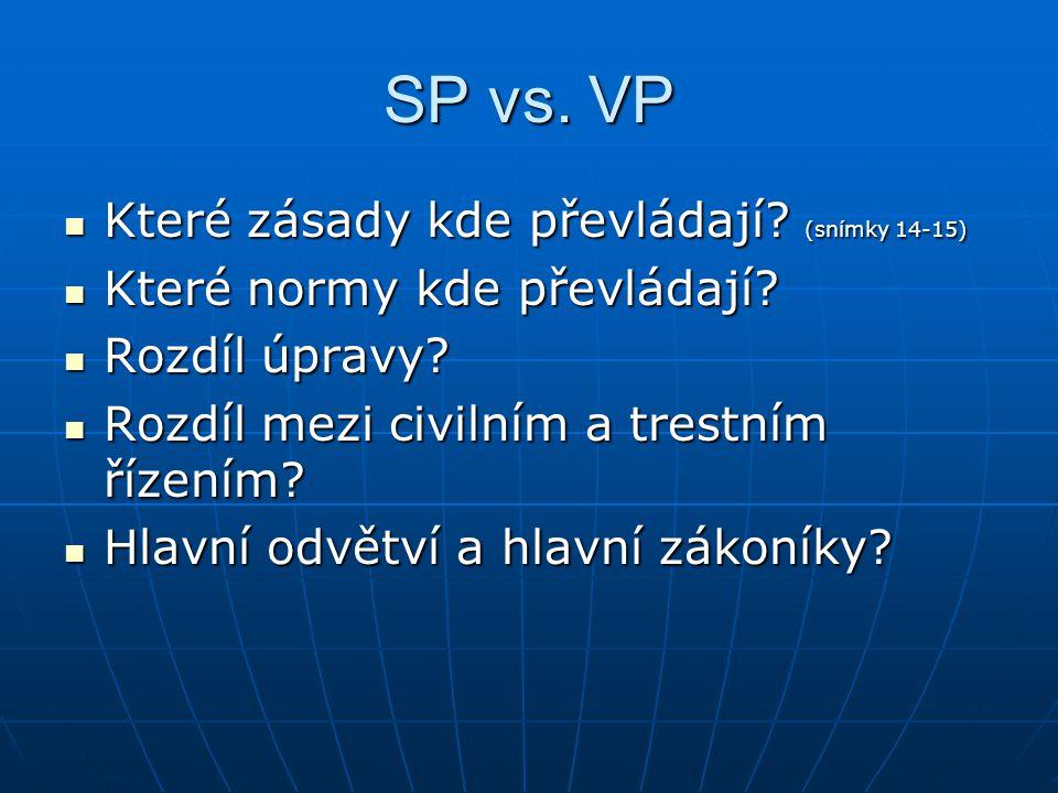 SP vs.VP Které zásady kde převládají. (snímky 14-15) Které zásady kde převládají.