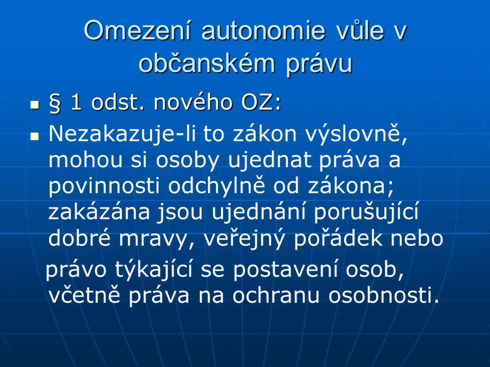 Omezení autonomie vůle v občanském právu § 1 odst.