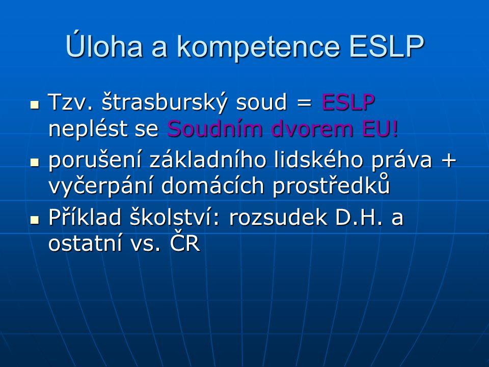 Úloha a kompetence ESLP Tzv.štrasburský soud = ESLP neplést se Soudním dvorem EU.
