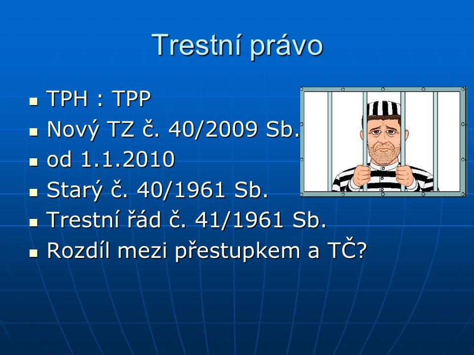 Trestní právo TPH : TPP TPH : TPP Nový TZ č.40/2009 Sb.