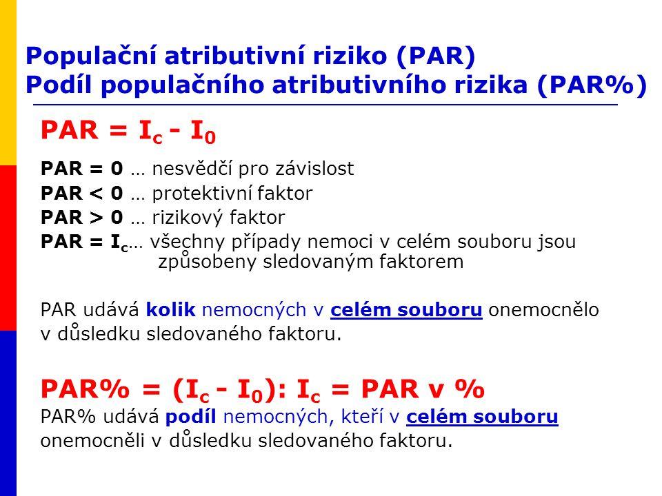 Populační atributivní riziko (PAR) Podíl populačního atributivního rizika (PAR%) PAR = I c - I 0 PAR = 0 … nesvědčí pro závislost PAR < 0 … protektivn