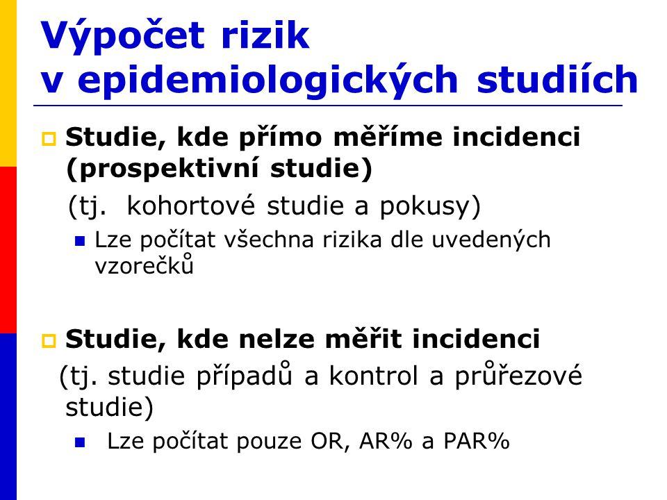Výpočet rizik v epidemiologických studiích  Studie, kde přímo měříme incidenci (prospektivní studie) (tj. kohortové studie a pokusy) Lze počítat všec