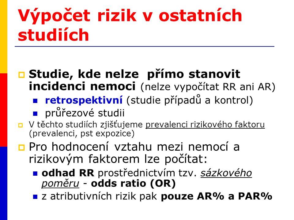 Výpočet rizik v ostatních studiích  Studie, kde nelze přímo stanovit incidenci nemoci (nelze vypočítat RR ani AR) retrospektivní (studie případů a ko