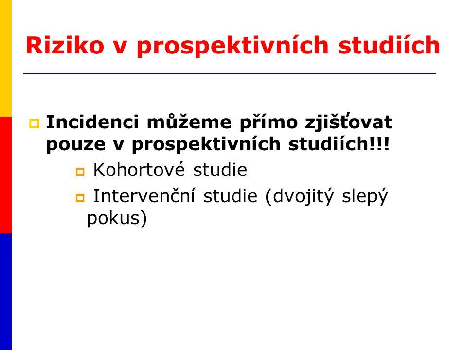 Riziko v prospektivních studiích  Incidenci můžeme přímo zjišťovat pouze v prospektivních studiích!!!  Kohortové studie  Intervenční studie (dvojit