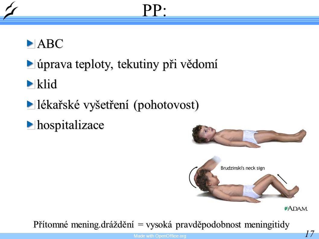 Made with OpenOffice.org 17 PP:ABC úprava teploty, tekutiny při vědomí klid lékařské vyšetření (pohotovost) hospitalizace Přítomné mening.dráždění = vysoká pravděpodobnost meningitidy