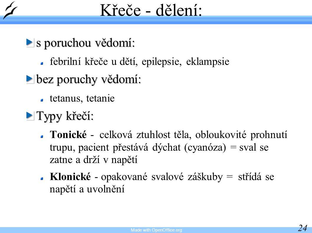 Made with OpenOffice.org 24 Křeče - dělení: s poruchou vědomí: febrilní křeče u dětí, epilepsie, eklampsie bez poruchy vědomí: tetanus, tetanie Typy k