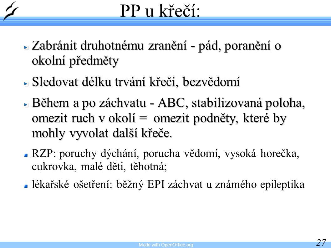 Made with OpenOffice.org 27 PP u křečí: Zabránit druhotnému zranění - pád, poranění o okolní předměty Sledovat délku trvání křečí, bezvědomí Během a p